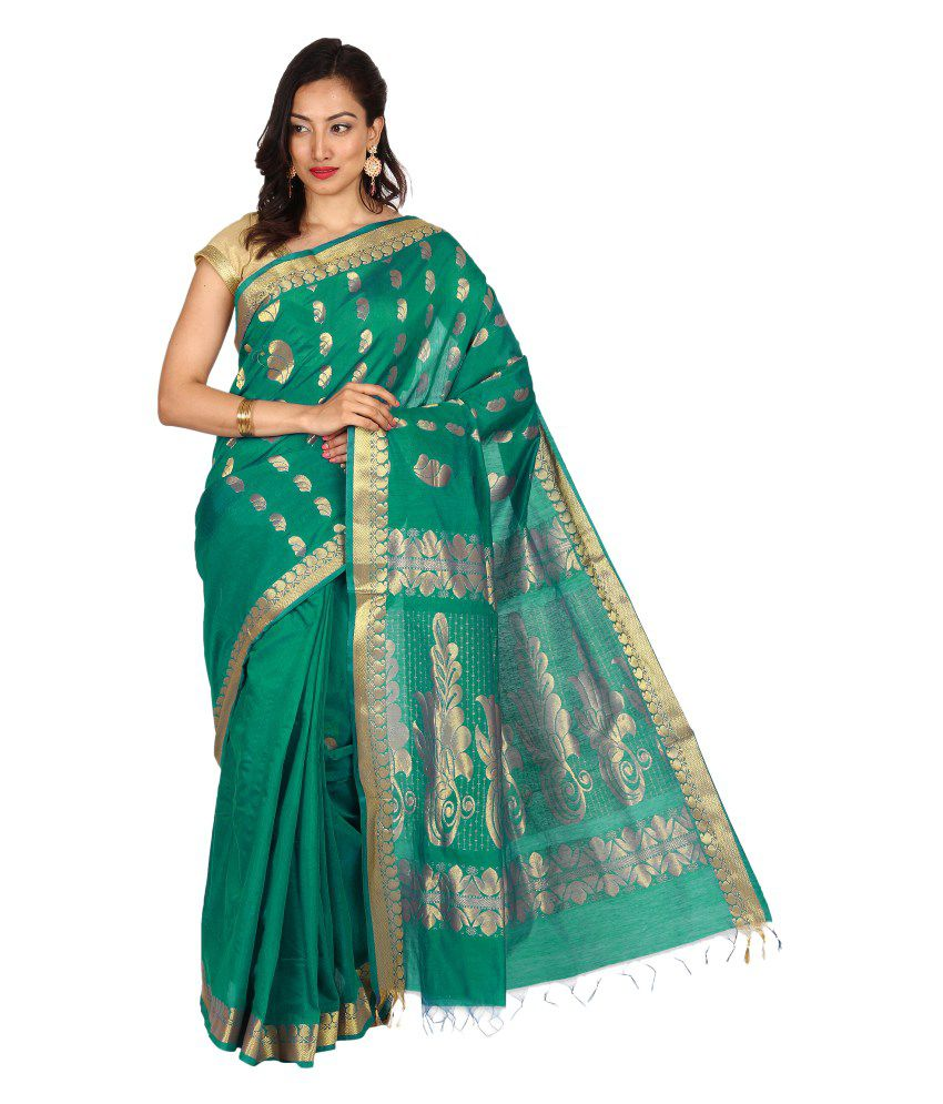 Pratamika Green Cotton Silk Saree