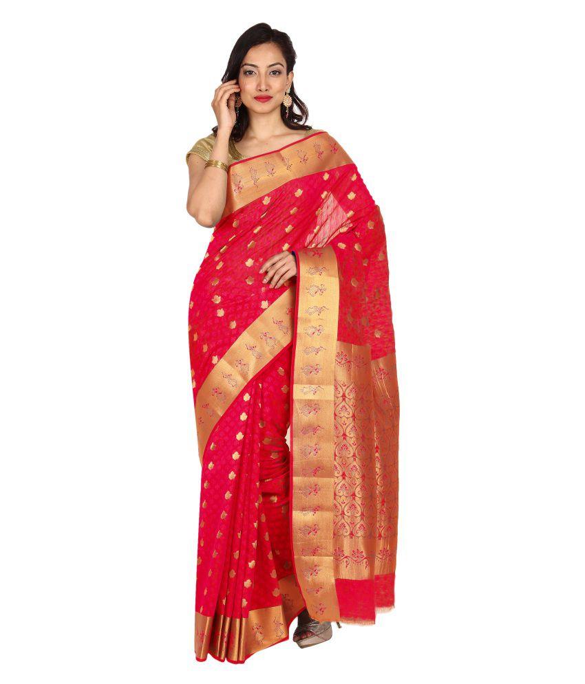 Pratamika Pink Cotton Silk Saree