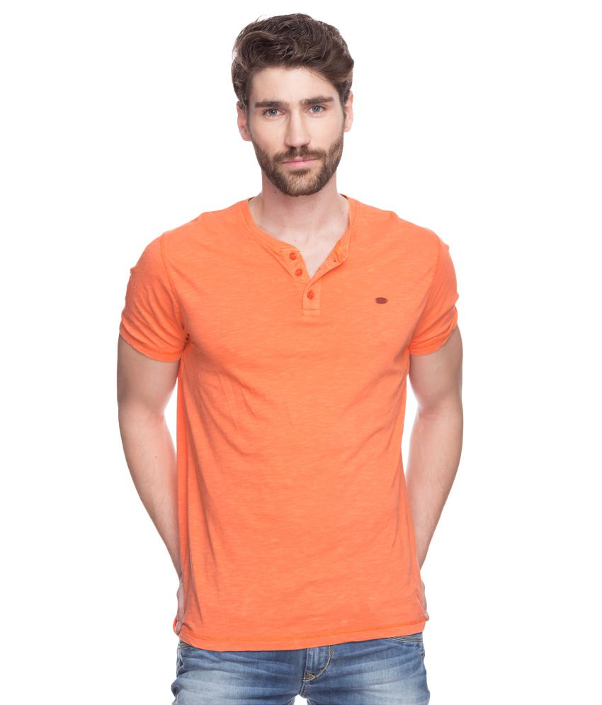 Spykar Orange V-Neck T-Shirt