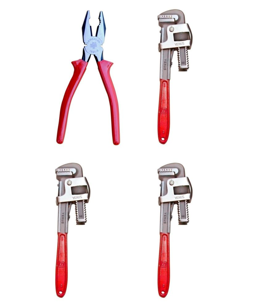 Taparia Tool Kit-Set Of Plier & Venus Pipe Wrench 14 Inch-Pack Of 3