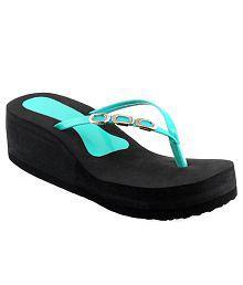 Shoe Lab Green Slippers & Flip Flops