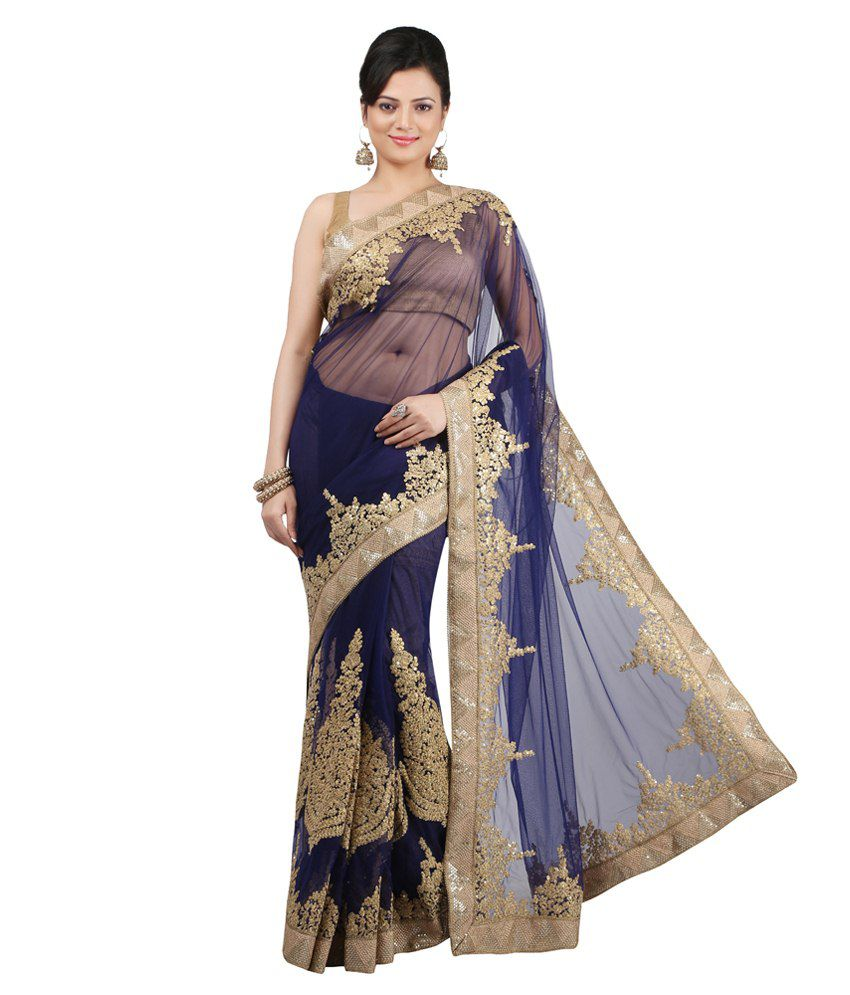Jashn Blue Net Saree