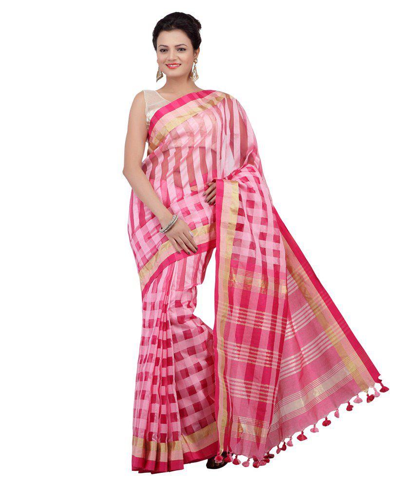 Jashn Pink Tussar Silk Saree