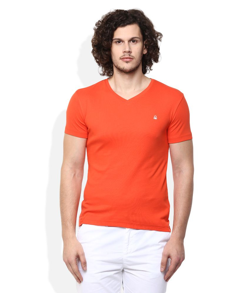 United Colors of Benetton Red V-Neck T Shirt