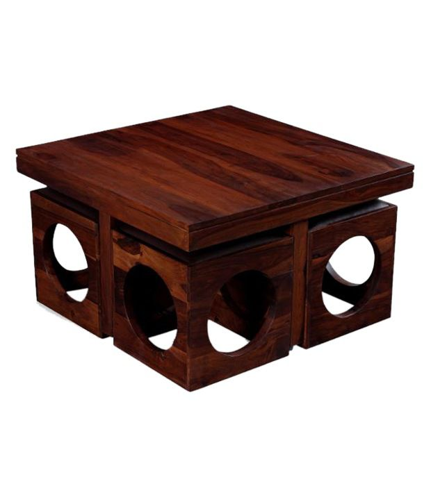 ethnic india art solid wood coffee table with 4 stools - buy
