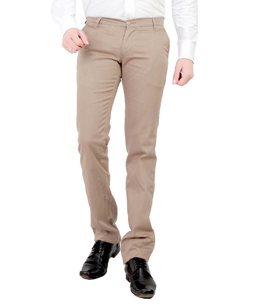 Leeds Fashion Beige Regular Fit Flat Trousers No