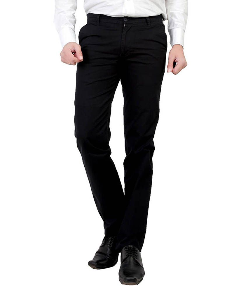 Leeds Fashion Black Regular Fit Flat Trousers No