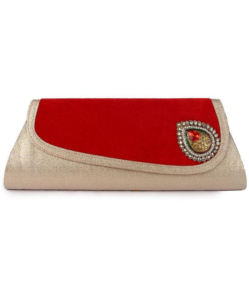 Kleio Red Suede Box Clutch