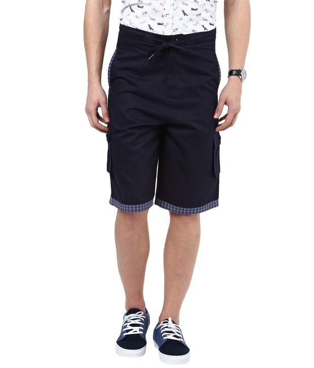 Hypernation Navy Color Cotton Shorts