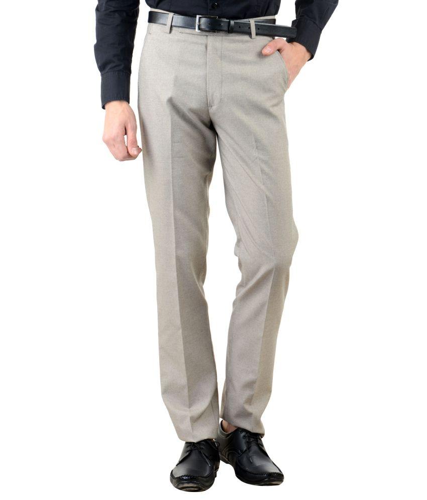 American-Elm Beige Slim Fit Flat Trousers Single