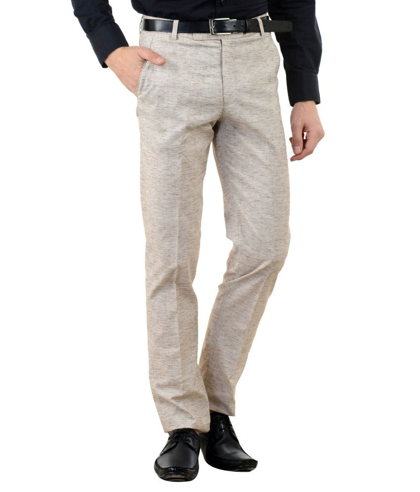 American-Elm Brown Slim Fit Flat Trousers Single