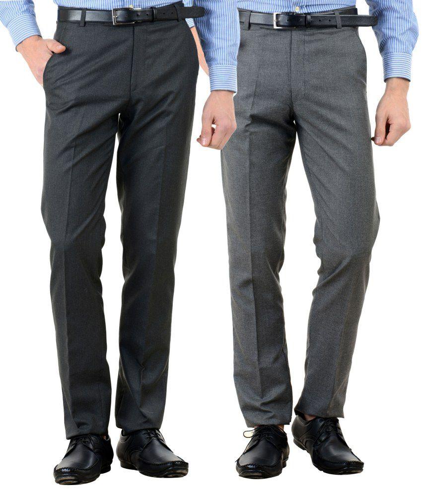 American-Elm Multi Slim Fit Flat Trousers Pack of 2