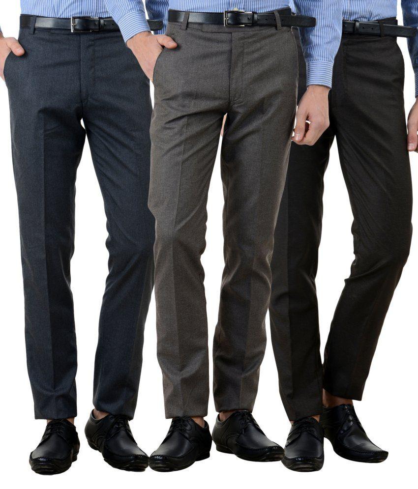 American-Elm Multi Slim Fit Flat Trousers Pack of 3