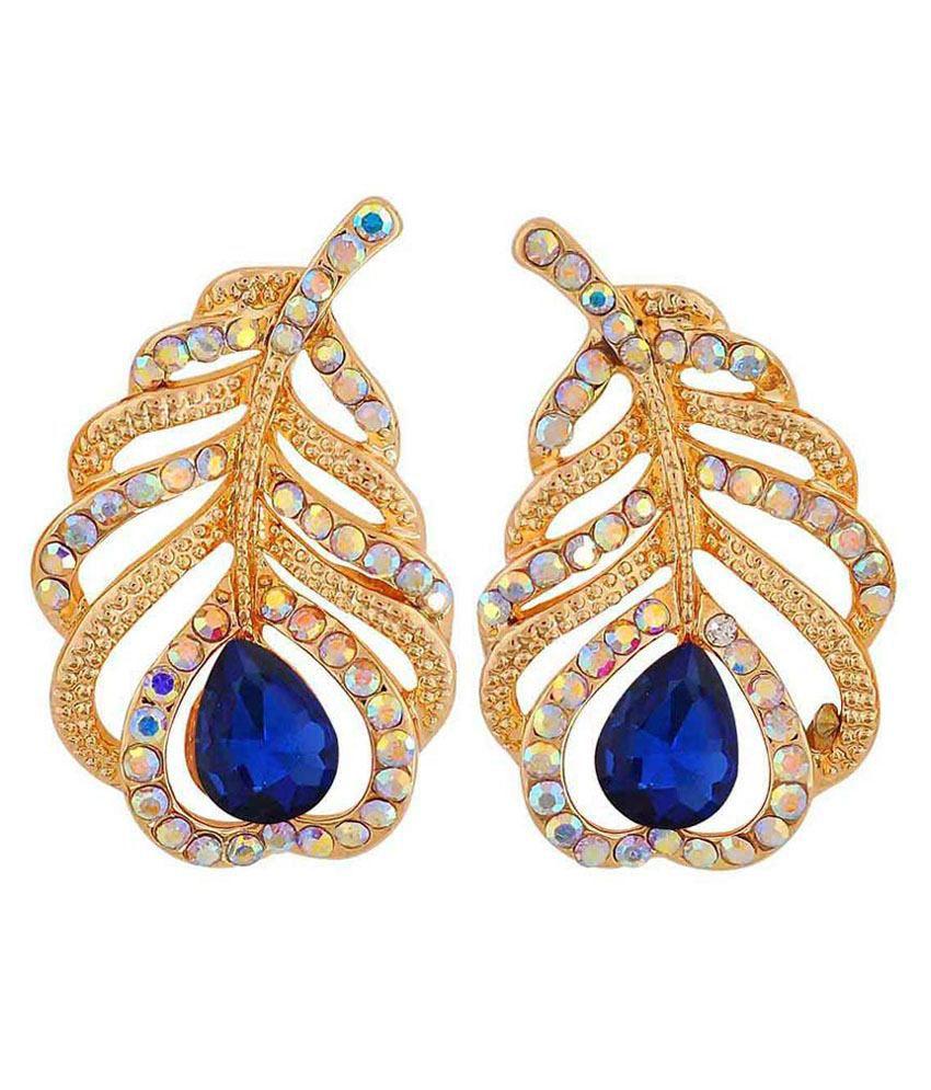 Maayra Blue Alloy Hanging Earrings
