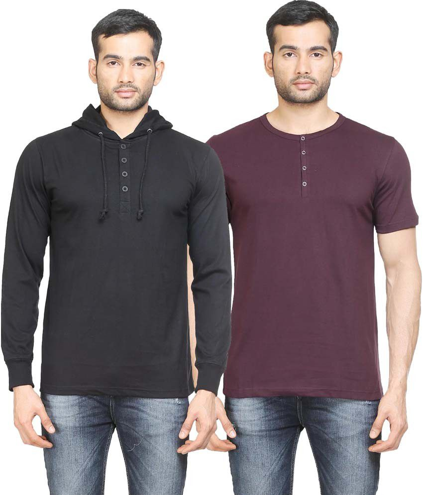 Poshuis Multicolor Cotton T-Shirt - Pack Of 2