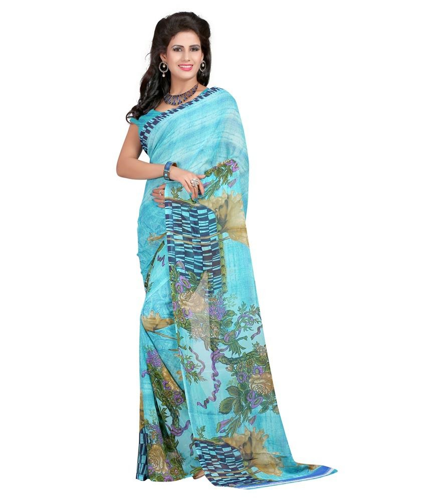 Hi-fashion Blue Faux Georgette Saree
