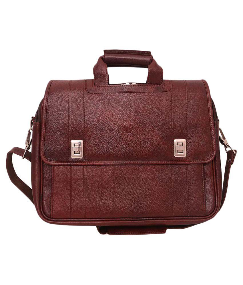 RLE Brown Leather Laptop Bag