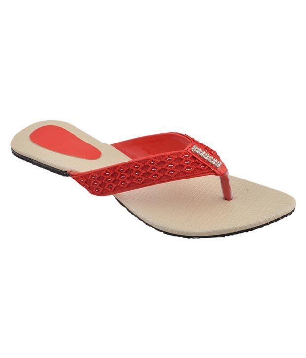 Bootwale Red Flat Slip-on & Sandal