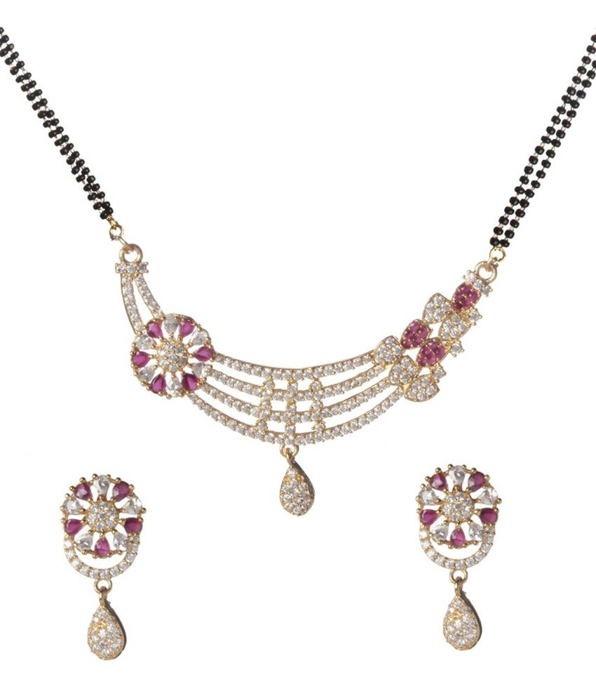 9blings White & PinkAmerican Diamonds Mangalsutra Set