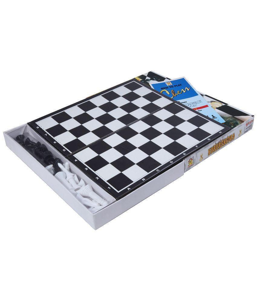 Techno Black and White Plastic Chess - Set of 2