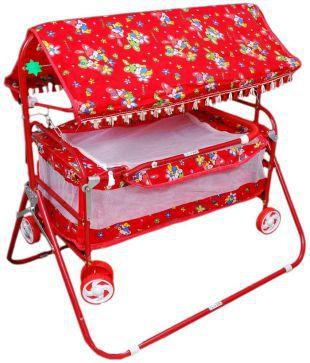 Brats N Angels Red Baby Cradle Cum Cot Cum Stroller