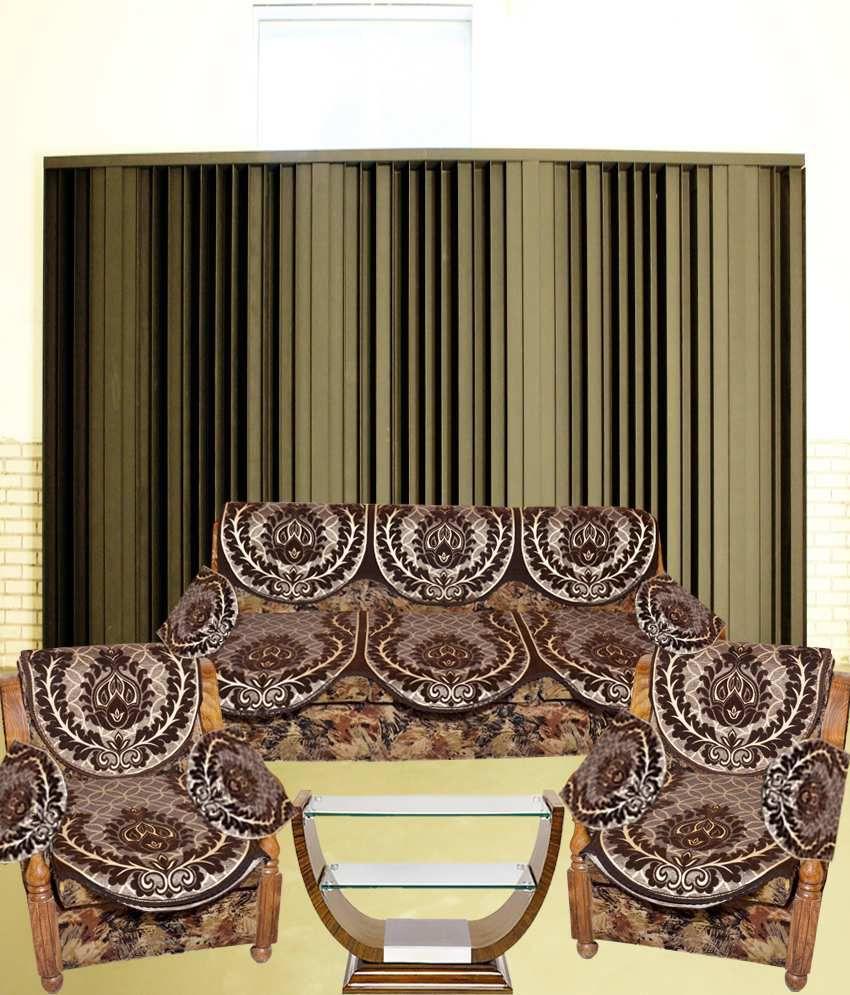 Tanya\'s Homes Brown Printed Chenille & Velvet Sofa Cover