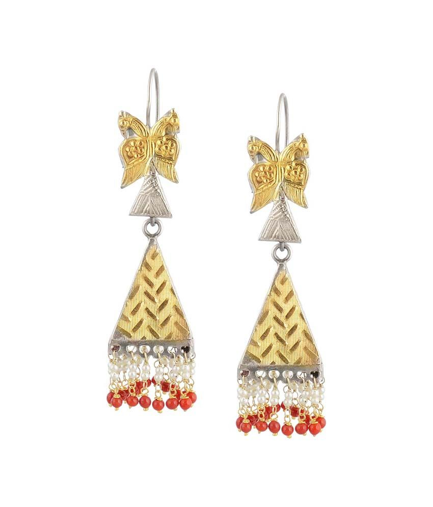 Jewels Of Jaipur 92.5 Silver Gold Plated Jhumki