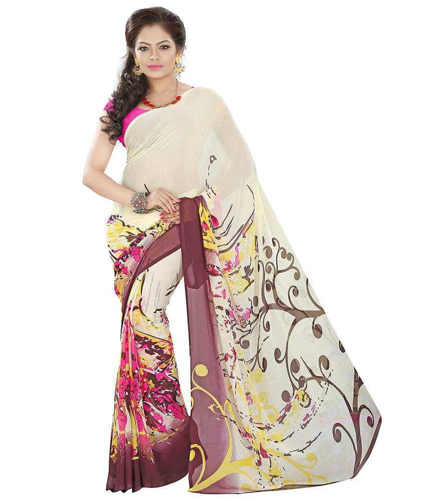 Lookslady Yellow Georgette Saree