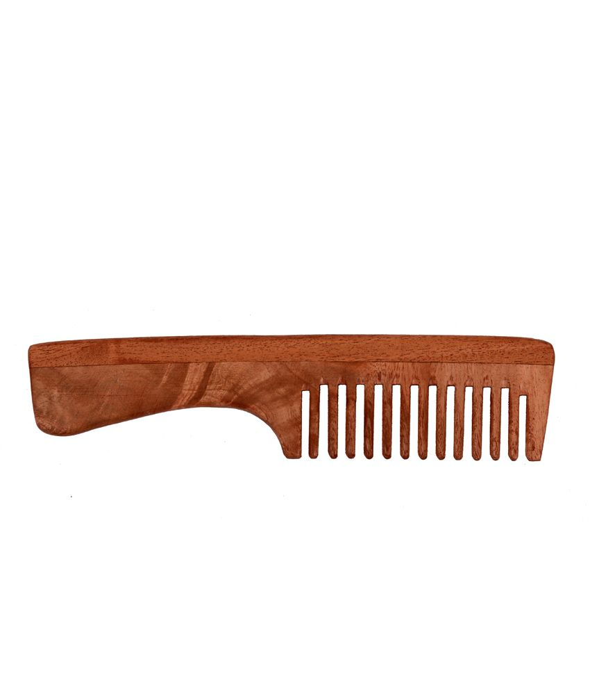 By Nature Neem Wood Comb with Handle