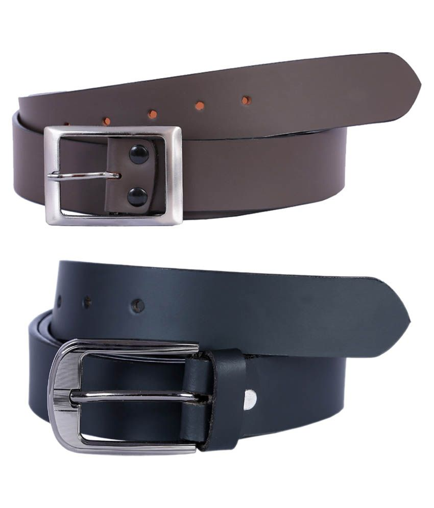 Hardy's Collection Black & Brown Leather Casual Belt For Men - Combo Of 2