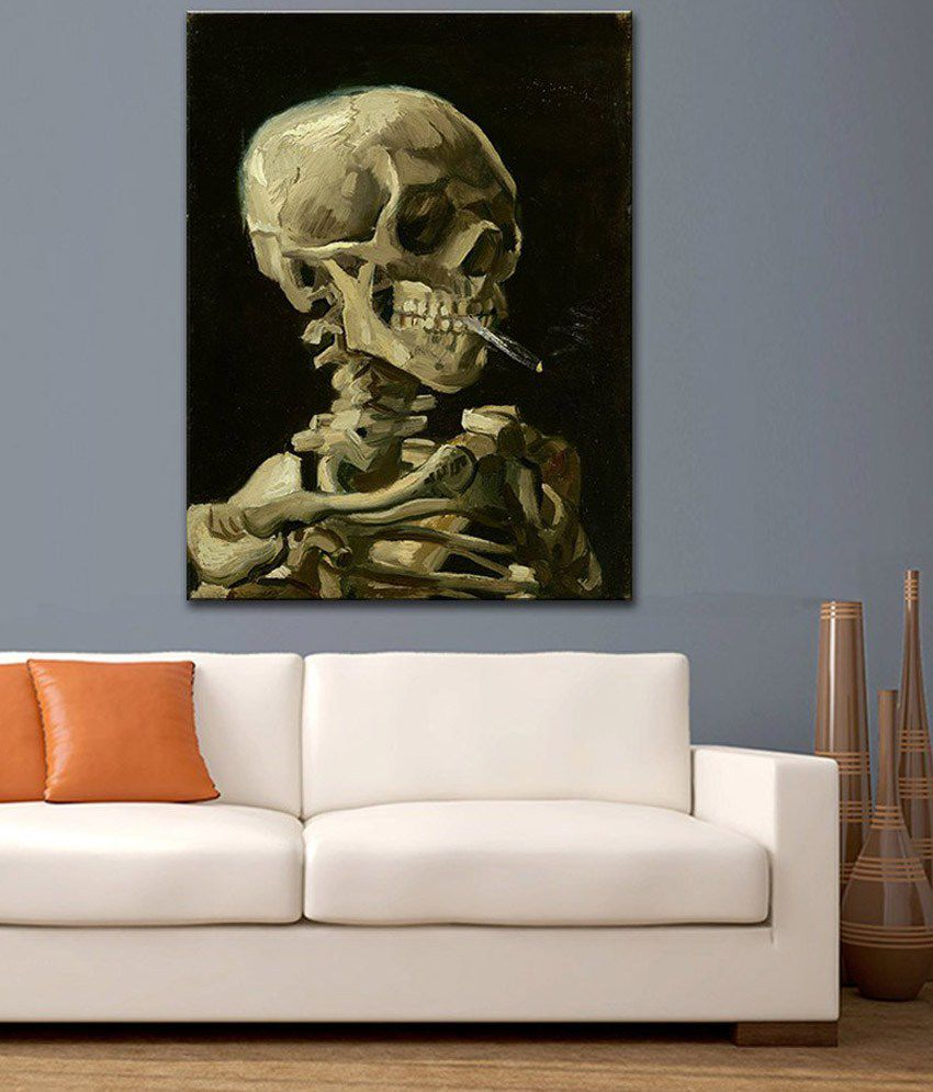 Tallenge Head Of A Skeleton With A Burning Cigarette By Vincent Van Gogh Rolled Canvas Art Print