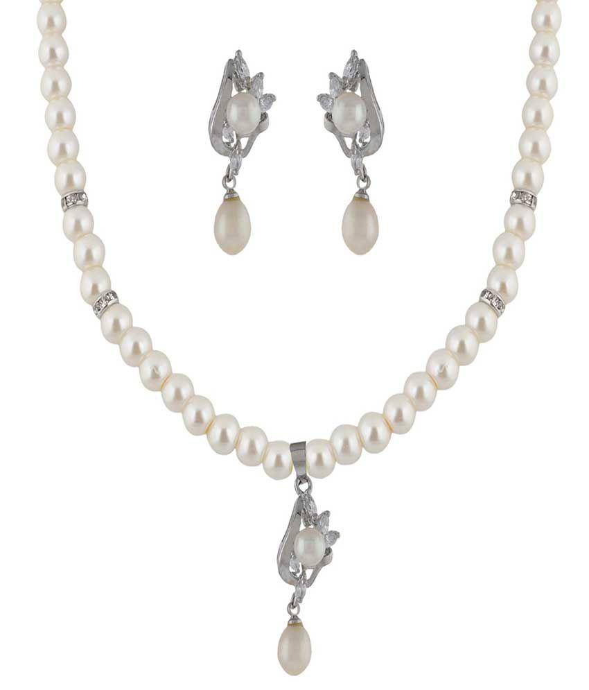 Classique Designer Jewellery White Pearl White Fashionable CZ Necklace Set