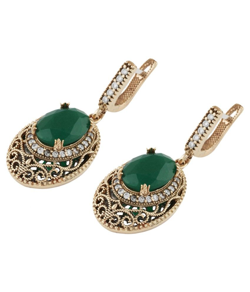 Om Gold Meliha Collection Green Golden 995 Silver Turkish Earrings Online In