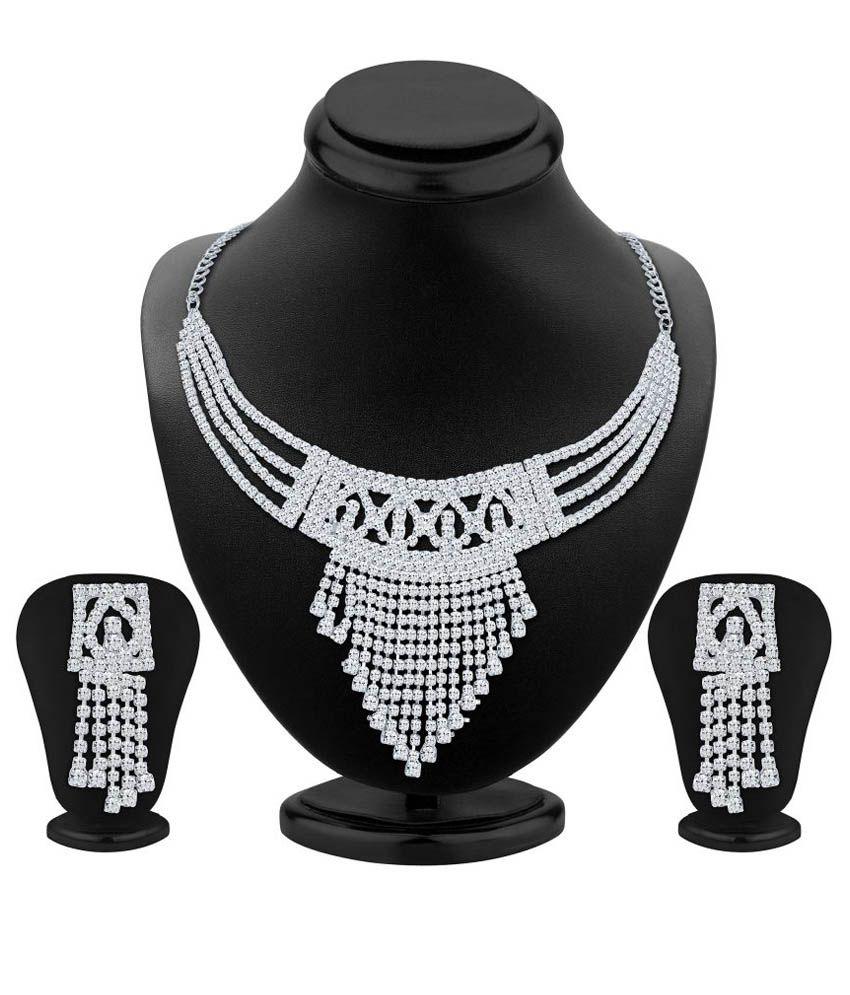Shostopper White Alloy Bridal Necklace Set