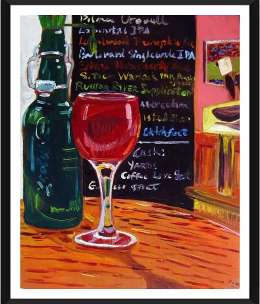 Tallenge Glass Of Red Wine Painting With Acrylic Frame