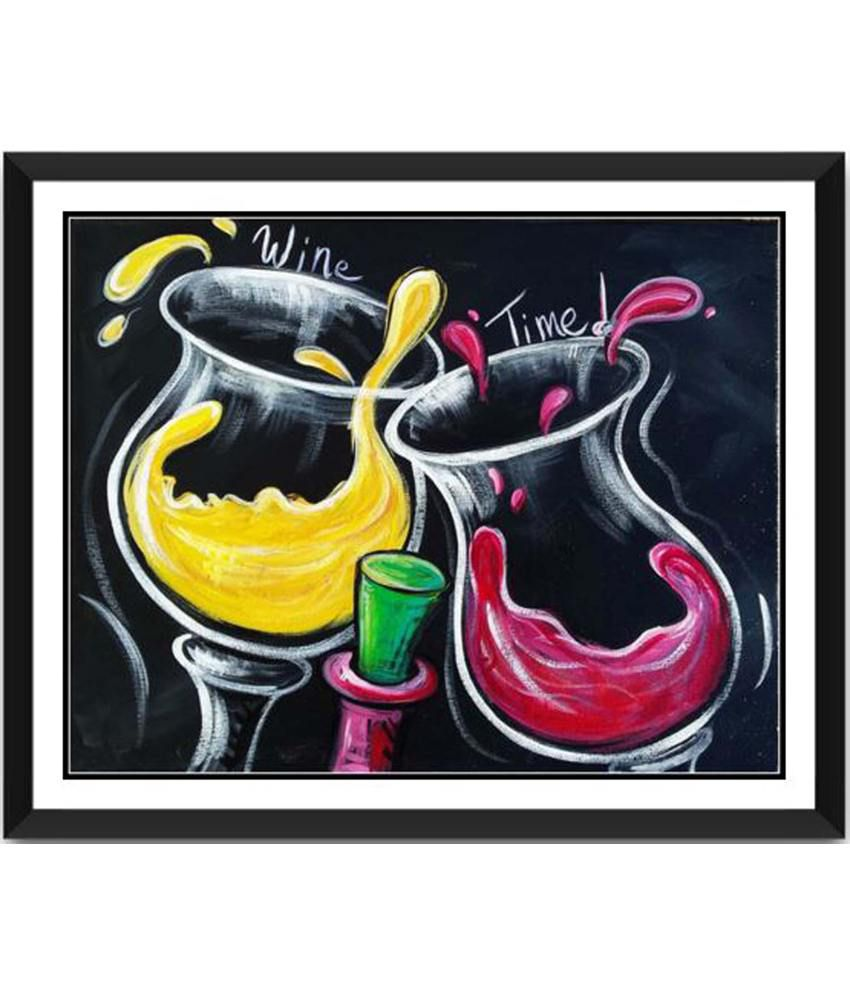 Tallenge Its Wine Time Painting With Acrylic Frame