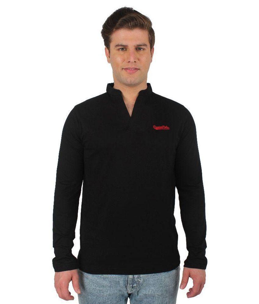 Denimholic Black V-Neck T Shirts No