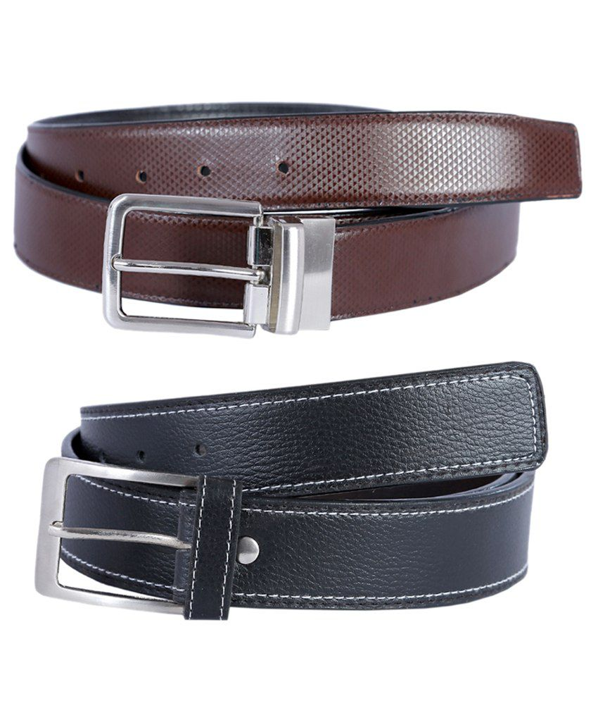 Hardy's Collection Black and Brown Leather Belt for Men - Pack of 2