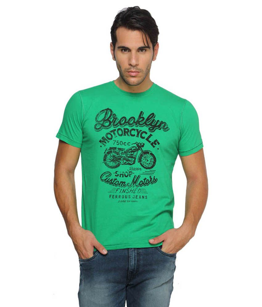 Ferrous Jeans Green Round T Shirts No