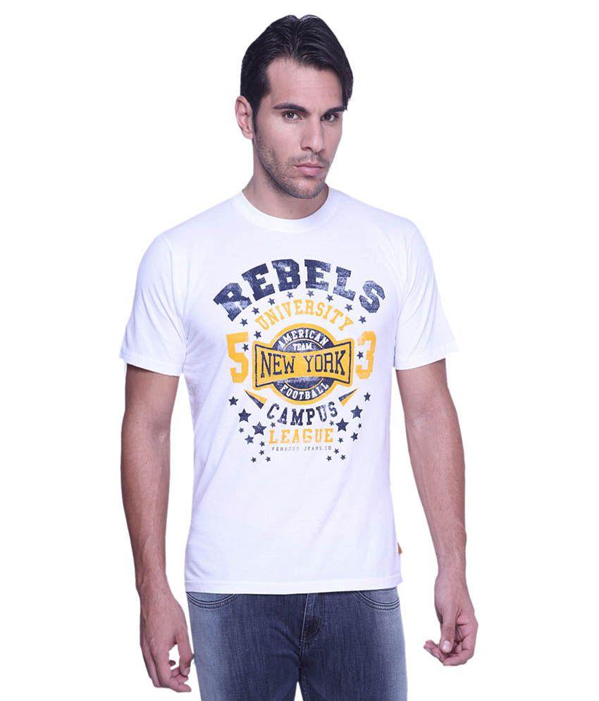 Ferrous Jeans White Round T Shirts No