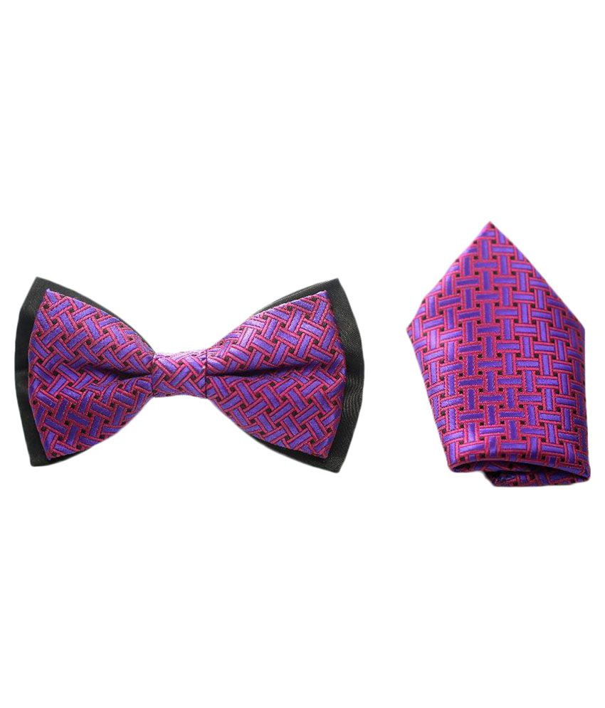 Knitknot Apparels Purple and Black Bow Tie with Pocket Square