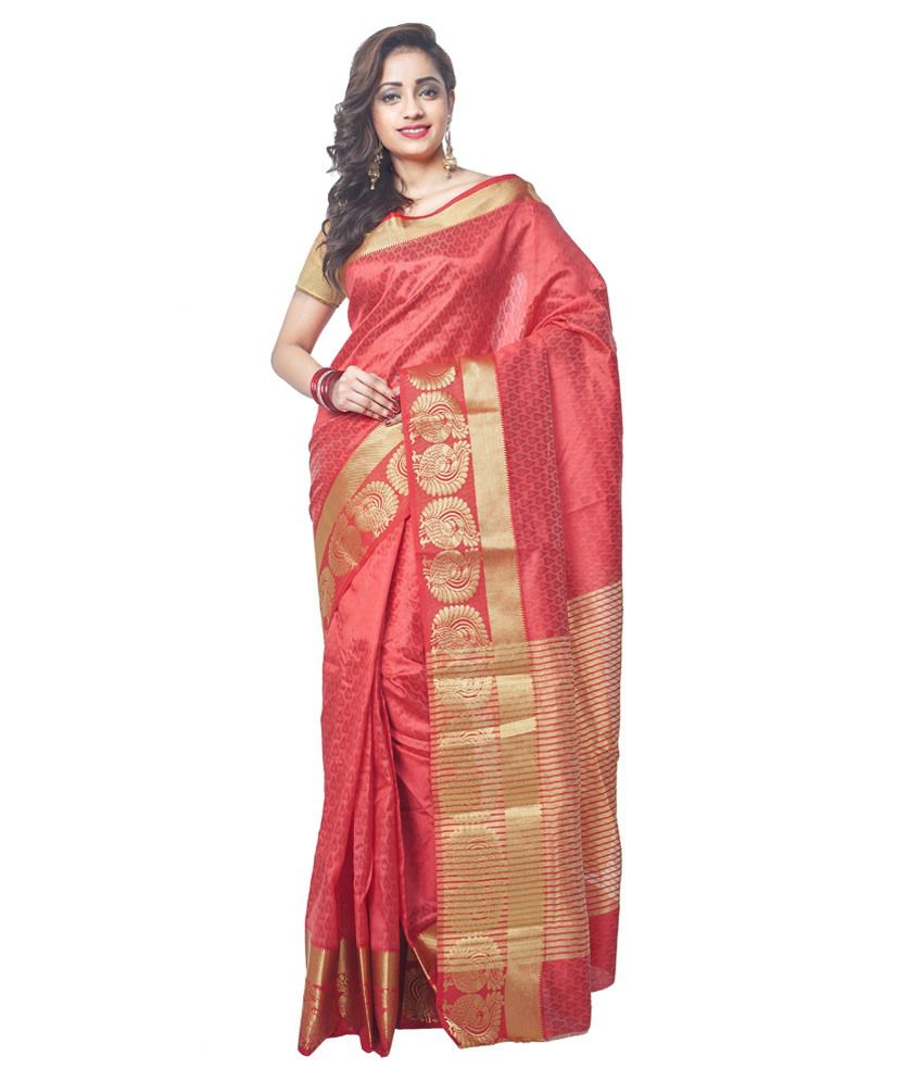 Radcart Red Chanderi Saree