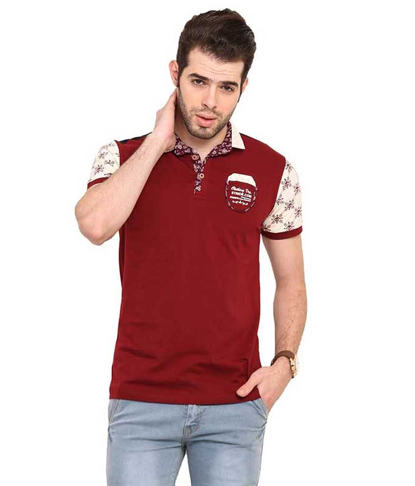 Mode Vetements Maroon Hooded T Shirts