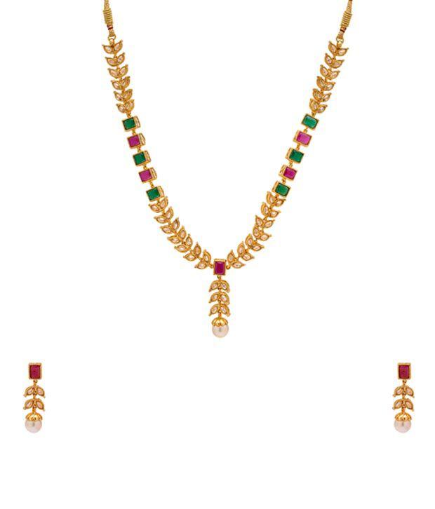 Rajwada Arts Multi Color Statement Bridal Necklace Set