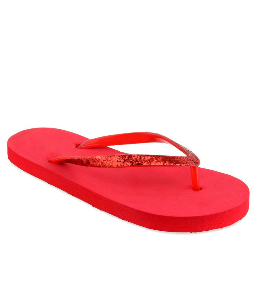 Shoe Lab Red Slippers & Flip Flops