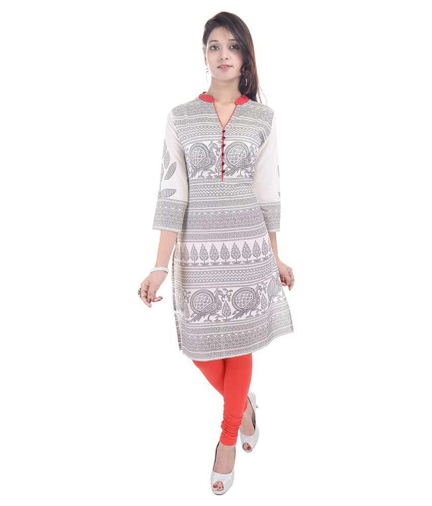 Shop Rajasthan White Straight Cotton Kurti