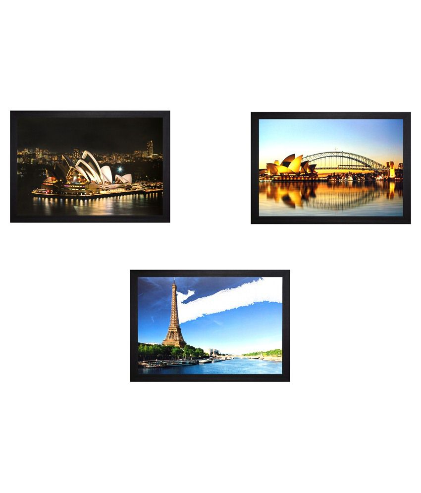 SAF Wooden Architecture Paintings With Frame Set Of 3