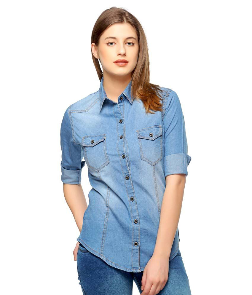 buy theory by fasnoya blue denim shirts online at best