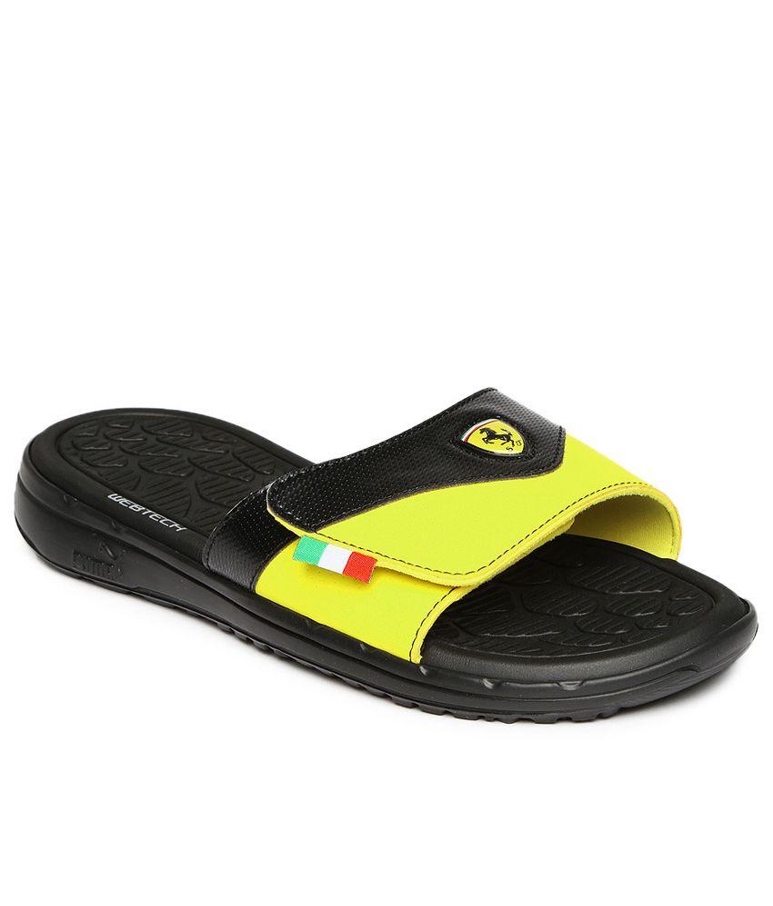 276858da3 PUMA Black   Yellow Slippin Ferrari Flip-Flops Price in India- Buy PUMA  Black   Yellow Slippin Ferrari Flip-Flops Online at Snapdeal