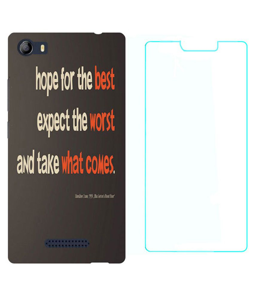 Treecase Back Cover For Micromax E481-Multicolour With Tempered Glass Screen Guard
